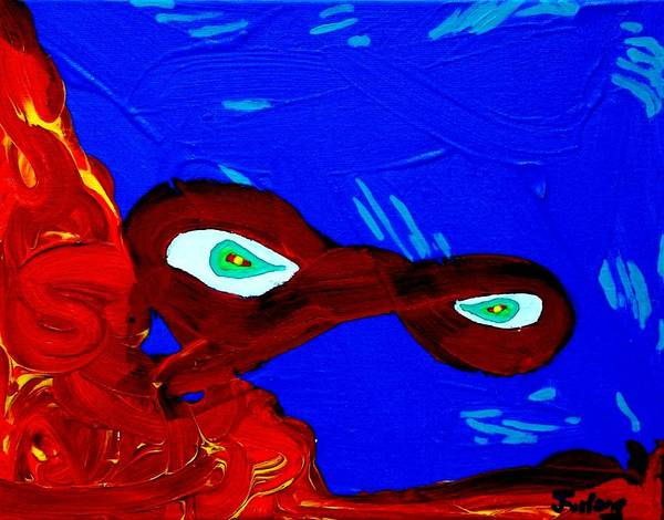 Green Eyes.....underwater..... Poster featuring the painting Green Eyes by Jim Furlong