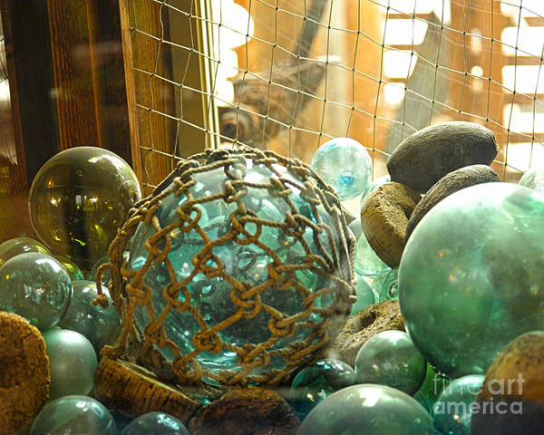 Ocean Floats Poster featuring the photograph Green Glass Japanese Glass Floats by Artist and Photographer Laura Wrede