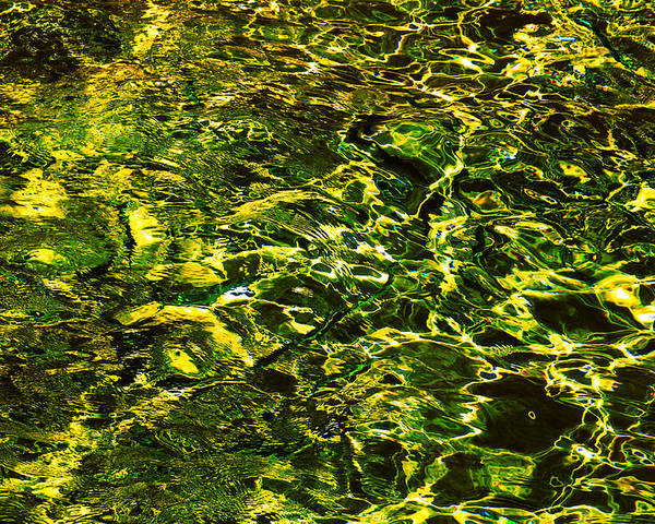 Water Poster featuring the photograph Green Gold Water Abstract. Feng Shui by Jenny Rainbow