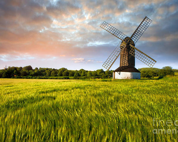 Http://radoslavtoth.webs.com/ Pitstone Windmill Photographs Poster featuring the photograph Green Ocean ''pitstone Windmill'' by Radoslav Toth