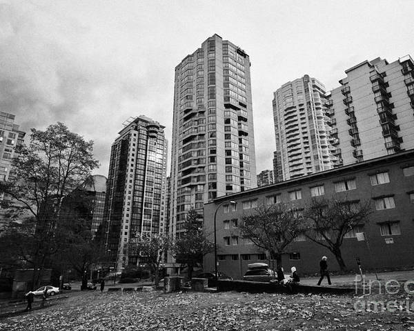High-rise Poster featuring the photograph Green Space In Front Of High Rise Apartment Condo Blocks In The West End Between Robson And West Geo by Joe Fox