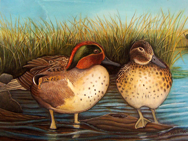 Rick Huotari Poster featuring the painting Green Winged Teal by Rick Huotari