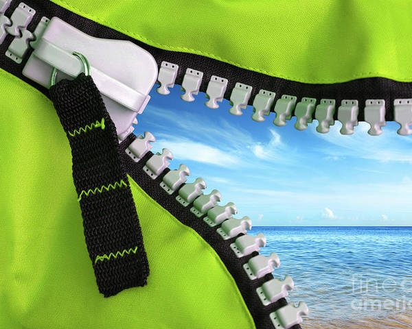 Background Poster featuring the photograph Green Zipper by Carlos Caetano