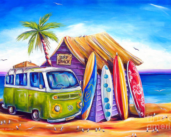 Kombi Poster featuring the painting Greenie by Deb Broughton