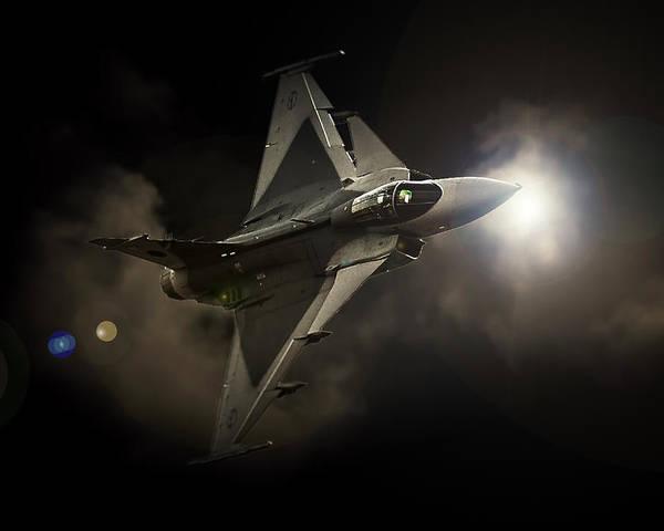 Saab Jas 39 Gripen Poster featuring the photograph Gripen Light by Paul Job