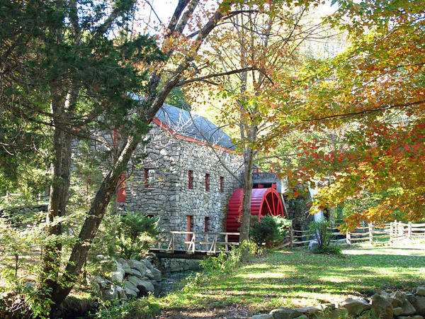 Mill Poster featuring the photograph Grist Mill In Fall by Barbara McDevitt