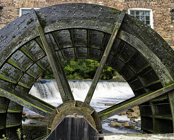 Grist Mill Poster featuring the photograph Grist Mill Wheel With Spillway by Thomas Woolworth