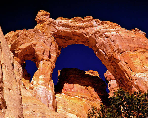 Arch Poster featuring the photograph Grosvenor Arch Sunset Kodachrome Basin by Ed Riche
