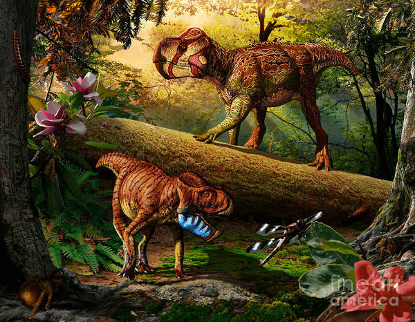 Gryphoceratops Poster featuring the digital art Gryphoceratops and Unescoceratops by Julius Csotonyi