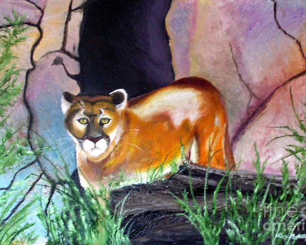 Big Cats Poster featuring the painting Guarding The Cave by Lora Duguay