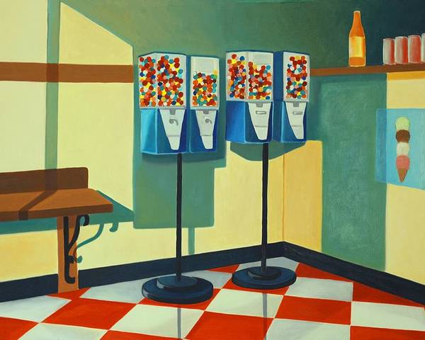 Gumball Machines Poster featuring the painting Gumball Machines by Lety Garcia