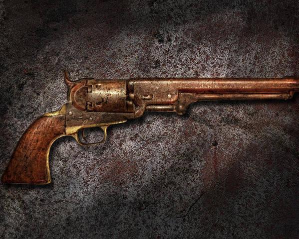 Gun Poster featuring the photograph Gun - Colt Model 1851 - 36 Caliber Revolver by Mike Savad