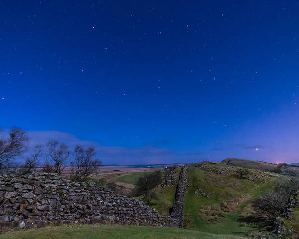 Northumberland Poster featuring the photograph Hadrians Wall Near Walltown At Night by David Head
