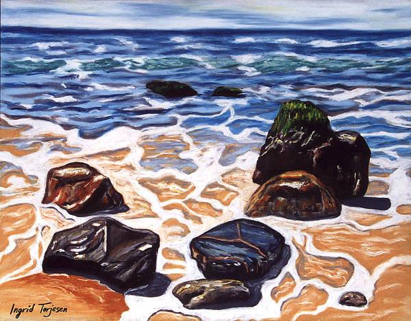 Rocks Poster featuring the painting Half Circle Rocks by Ingrid Torjesen