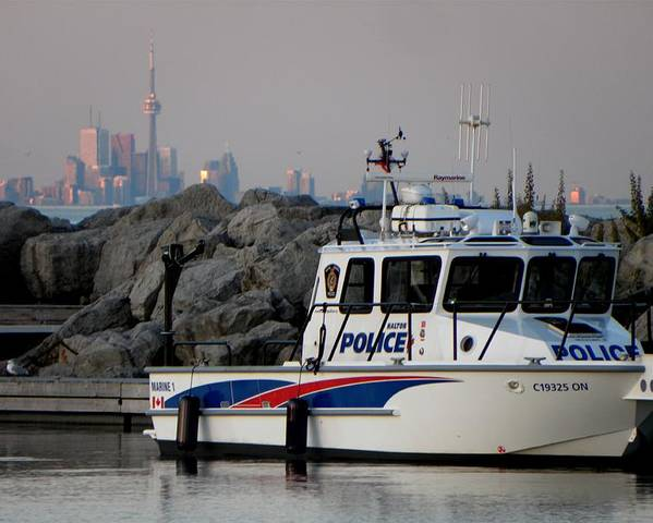 Police Poster featuring the photograph Halton Police Boat And Cn Tower by Michael Caron