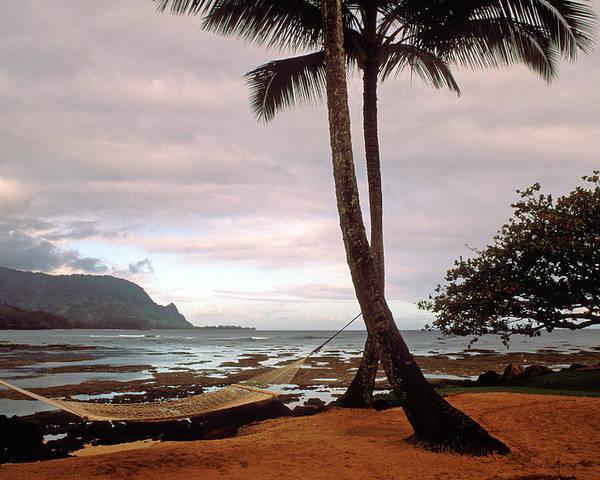 Kauai Photos Poster featuring the photograph Hanalei Bay Hammock At Dawn by Kathy Yates