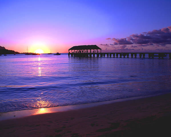 Hanalei Bay Pier Sunset Seascape Kauai Hawaii Poster featuring the photograph Hanalei Bay Pier Sunset by Brian Harig
