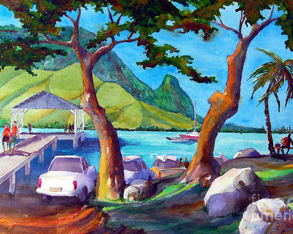 Hanalei Poster featuring the painting Hanalei Pier by Jerri Grindle