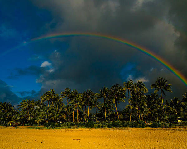Hanalei Bay Poster featuring the photograph Hanalei Rainbow by Ian Stotesbury