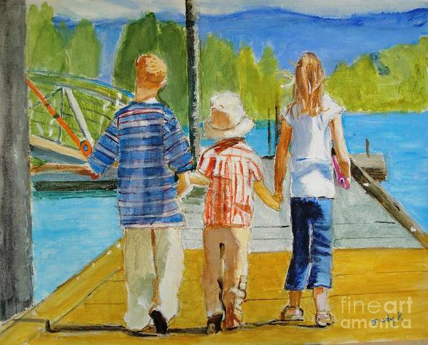 Children Poster featuring the painting Hand In Hand by Judy Kay