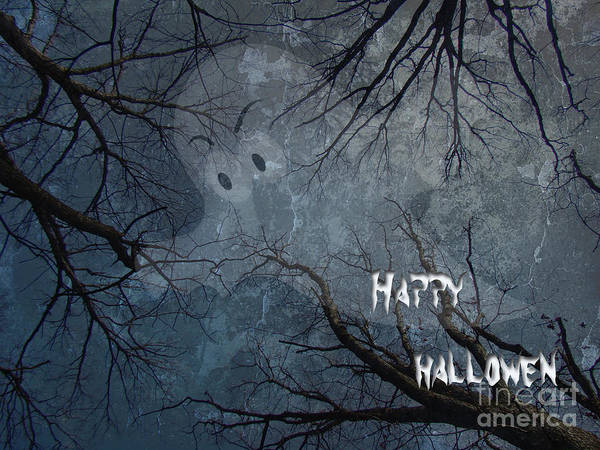 Halloween Poster featuring the photograph Happy Halloween - Ghost In Trees by Mother Nature
