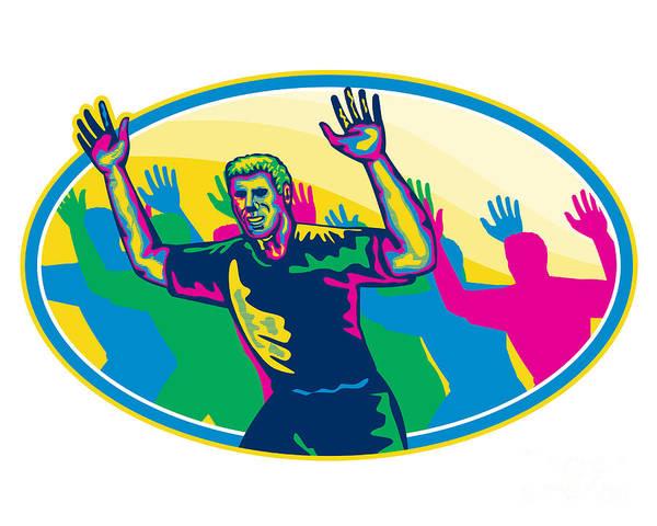 Marathon Poster featuring the digital art Happy Marathon Runner Running Oval Retro by Aloysius Patrimonio