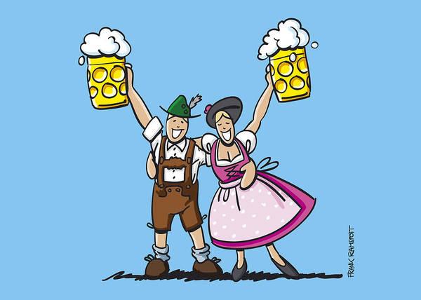 Frank Ramspott Poster featuring the digital art Happy Oktoberfest Couple Beer by Frank Ramspott