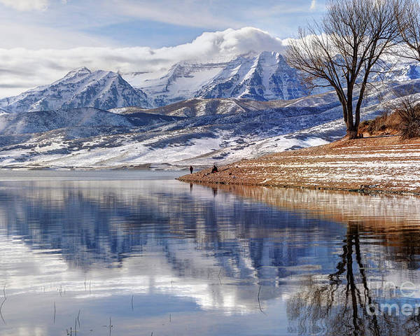 Mount Timpanogos Poster featuring the photograph Hardy Fishermen Deer Creek Reservoir And Timpanogos In Winter by Gary Whitton
