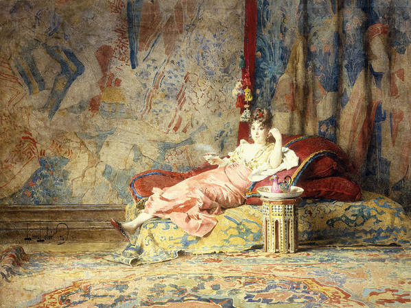 Harem; Beauty; Beautiful; Female; Woman; Sanctum; Reclining; Chaise; Lounge; Interior; Moorish; Tapestry; Fresco; Textile; Textiles; Carpet; Relaxed; Relaxing; Lounging; Pose; Tea; Drink; Beverage; Poster featuring the painting Harem Beauty by Alexandre Louis Leloir
