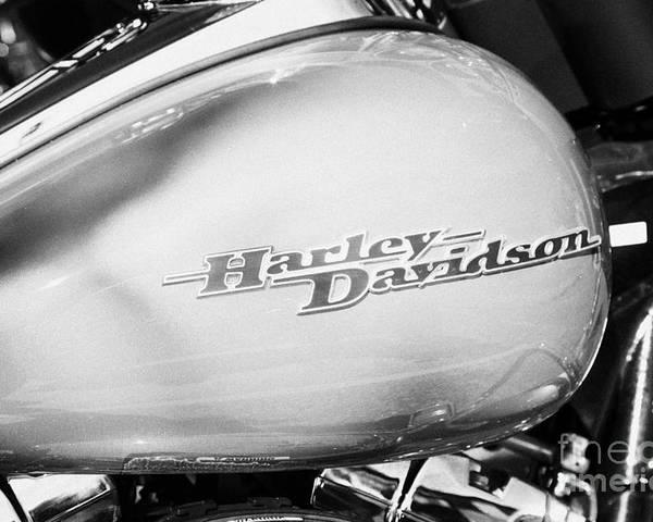 Harley-davidson Poster featuring the photograph Harley Davidson Logo On Street Glide Bike Orlando Florida Usa by Joe Fox