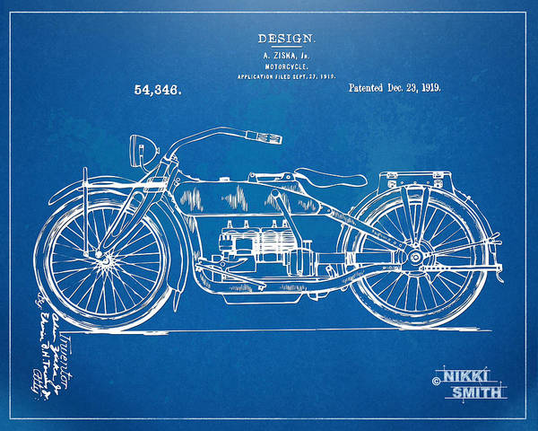 Harley-davidson Poster featuring the drawing Harley-davidson Motorcycle 1919 Patent Artwork by Nikki Marie Smith