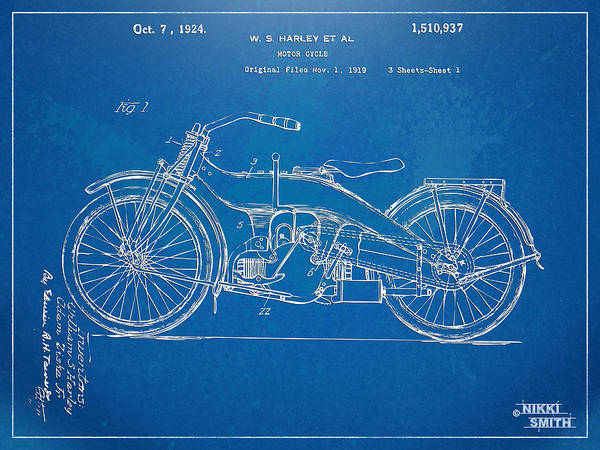 Harley-davidson Poster featuring the digital art Harley-davidson Motorcycle 1924 Patent Artwork by Nikki Marie Smith