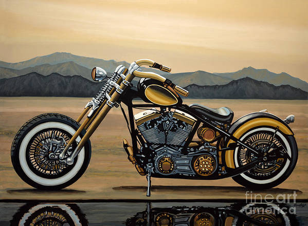 Harley Davidson Poster featuring the painting Harley Davidson by Paul Meijering
