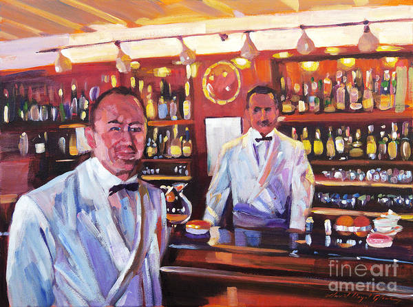 Bars Poster featuring the painting Harry's American Bar by David Lloyd Glover