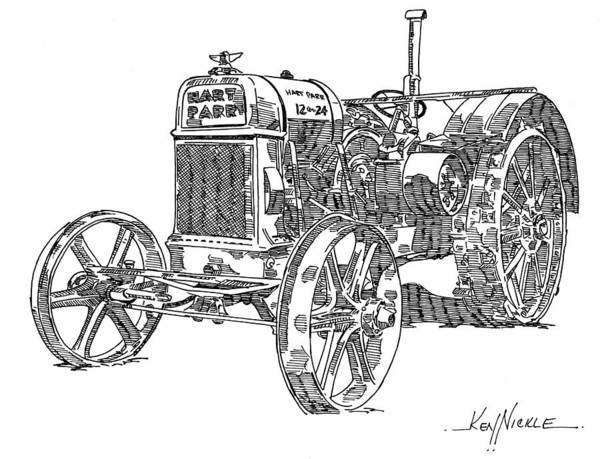 Tractor Poster featuring the drawing Hart-parr 12-24 E by Ken Nickle