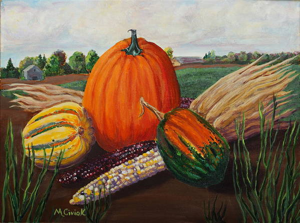 Autumn Poster featuring the painting Harvest by Mary Anne Civiok