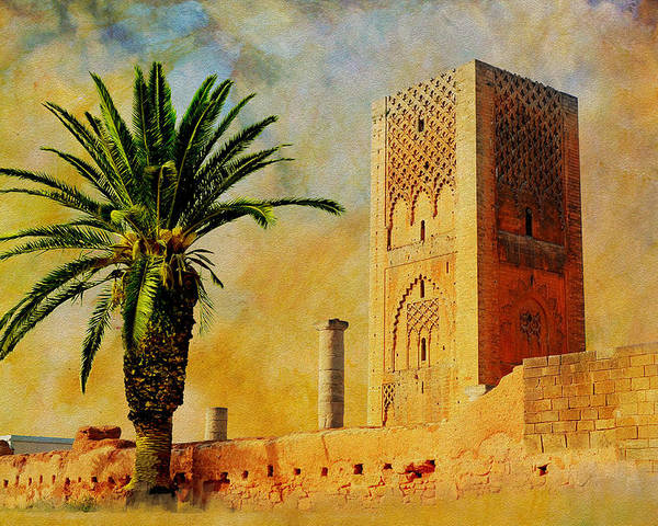 Medina Of Fezmedina Of Marrakeshksar Of Ait-ben-haddouhistoric City Of Meknesarchaeological Site Of Volubilismedina Of Tétouan (formerly Known As Titawin)medina Of Essaouira (formerly Mogador) Island Of Mozambiquenamibiatwyfelfontein Or /ui-//aesnepalkathmandu Valleysagarmatha National Parkchitwan National Parklumbini Poster featuring the painting Hassan Tower by Catf