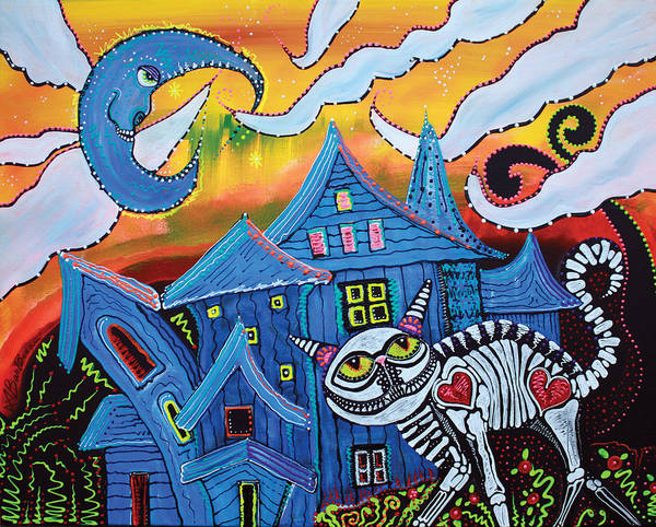 Cat Poster featuring the painting Haunted Hollow by Laura Barbosa
