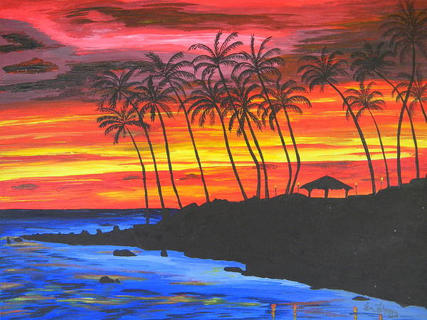 Sunset Poster featuring the painting Hawaiian Sunset by Eric Johansen