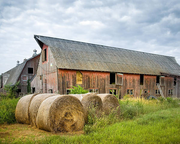 Old Barn Poster featuring the photograph Hay Bales And Old Barns by Gary Heller