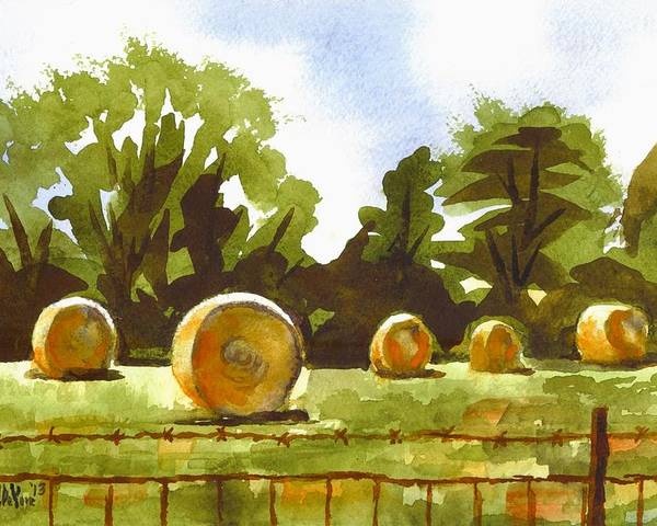 Hay Bales At Noontime Poster featuring the painting Hay Bales At Noontime by Kip DeVore