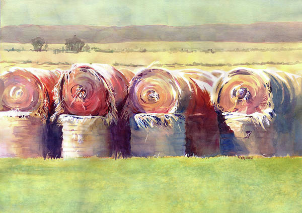 Kris Parins Poster featuring the painting Hay Bales by Kris Parins