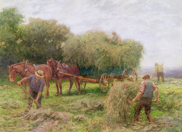Horses Poster featuring the painting Haymaking by Arthur Hopkins