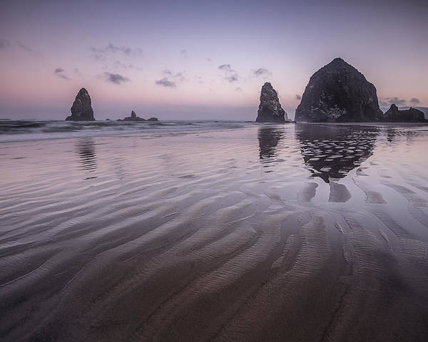 Purple Poster featuring the photograph Haystack Glow by Jon Glaser