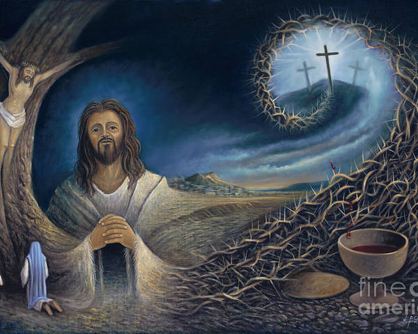 Religious Poster featuring the painting He Knew Yet He Went Through by Ricardo Chavez-Mendez in Collaboration with Joyce Hodges