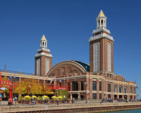 Navy Poster featuring the photograph Headhouse Chicago Navy Pier by Christine Till