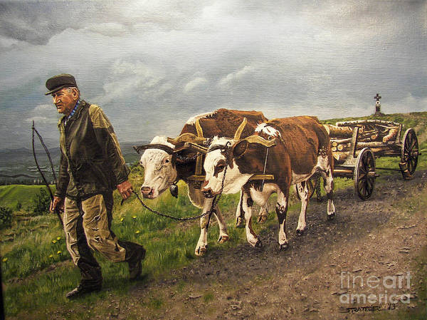 Animals Poster featuring the painting Heading Home by Deborah Strategier