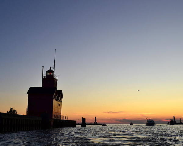 Lighthouse Poster featuring the photograph Heading Out by Michelle Calkins