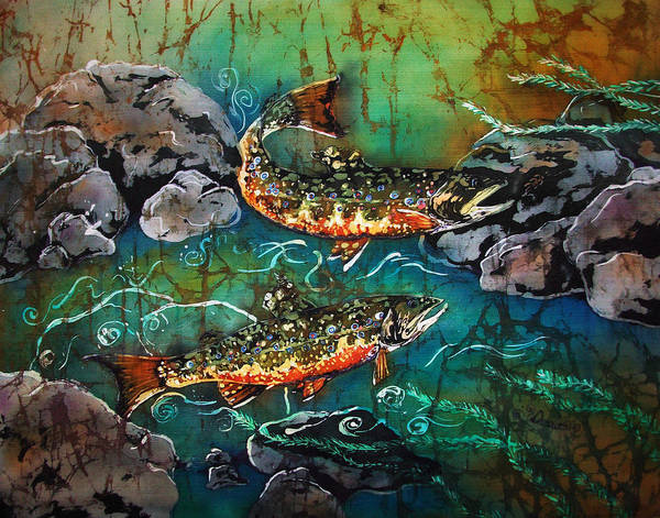 Trout Poster featuring the painting Heading Upstream by Sue Duda