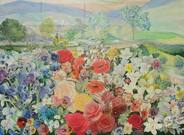 Flowers Poster featuring the mixed media Heavens Flowers For Mama by Judith Espinoza